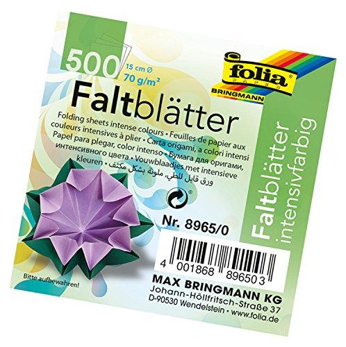 folia 8965/0 - Faltblätter rund, Durchmesser 15 cm, 70 g/qm, 500 Blatt sortiert in 10 Farben - ideal zum Falten und Formen von wunderschönen Figuren und andere kreative Bastelarbeiten Runde Blätter