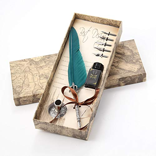 Pawaca Federkiel Set Feder mit Tinte Kalligraphie Pen Set Antike Schreibfeder mit Tintenfass