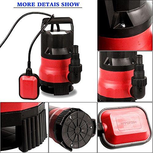 Homdox Tauchpumpe 400 W Schmutzwasserpumpe Teich Wasserpumpe Tauchwasserpumpe 8000 L/H Pumpe mit Schwimmschalter und Tragegriff (Rot)