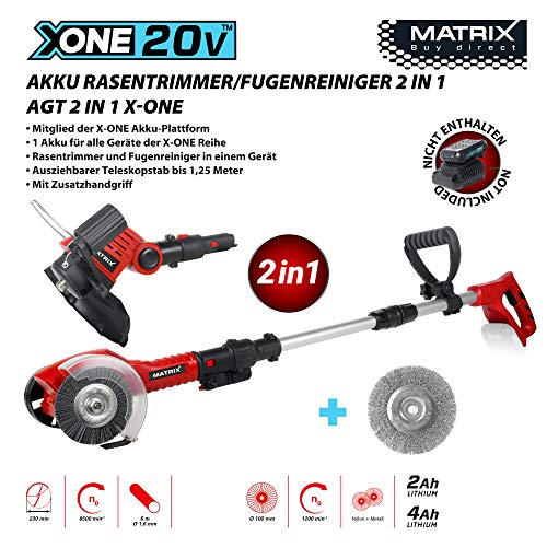 Matrix 511010591 20 Volt 2 in1 Rasentrimmer Fugenreiniger AGT 2 IN 1 X-ONE, Rot, Schwarz