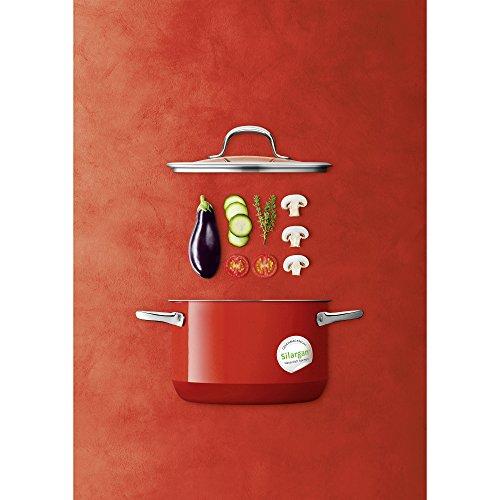 Silit Passion Red Kochtopf hoch mit Glasdeckel Ø 20 cm, Silargan Funktionskeramik, Schüttrand, induktionsgeeignet, spülmaschinengeeignet, rot, 3,7l