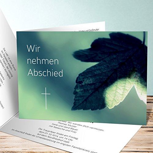 Einladungskarten Beerdigung, Ahornblatt 175 Karten, Horizontale Klappkarte 148x105 inkl. weiße Umschläge, Grün