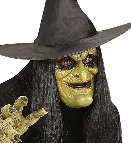 Widmann 00459–Maske Hexe halbe Gesicht mit Haar in Einheitsgröße