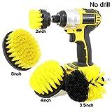 Crewell Fliesenbürsten-Set für Akkuschrauber, zur Reinigung von Fliesen, Fugen, für Mineral- und Marmorflächen und mehr, 4er-Set gelb