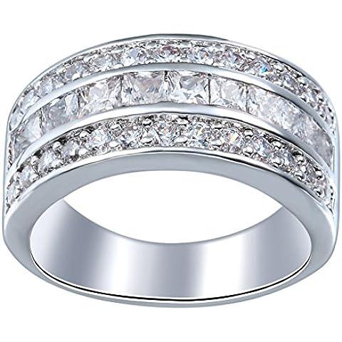 Smile YKK Mujer platino plata de ley 925blanco Zincon redonda de cristal anillo