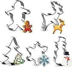 Idea Regalo - Joyoldlef Set di formine per Biscotti di Natale in 3D - Formine Biscotti in Acciaio Inox, Pupazzo di Neve, Albero di Natale, Fiocco di Neve, Omino di Marzapane (5 PCS)