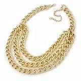 Avalaya Halskette, mehrreihig, Panzerkette, 38 cm lang, 8 cm Verlängerung, goldfarben