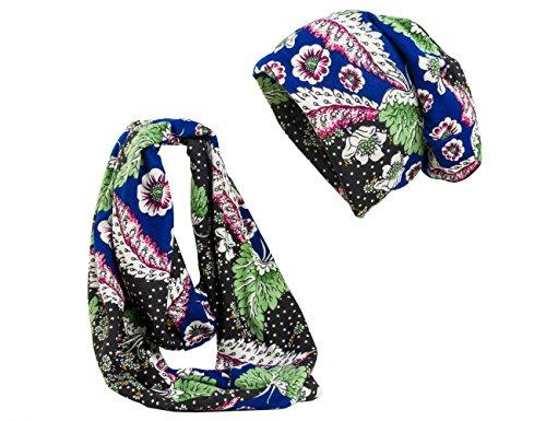 Shenky - Ensemble bonnet et écharpe Fleur - Bleu