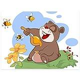 Topposter Poster für Kinderzimmer - Lecker Honig für Bärchen (Poster in Gr. 60x80cm)