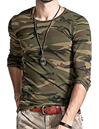 LionRoar Men's Army Round Neck Full Sleeve Camouflage T Shirts for Men