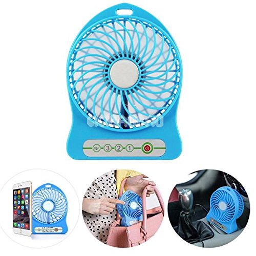 Whinsy Plastic Mini Portable Usb Reachargeable Fan(Blue)