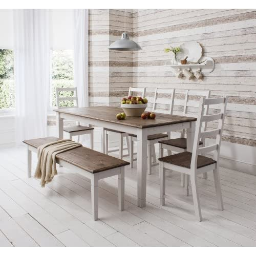 Noa and Nani - Canterbury Dining Table with 5 Chairs and 1 Bench - (Dark Pine and White)