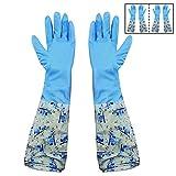 #6: HOKIPO® Reusable PVC Flocklined Kitchen Gloves, Free Size, Elbow Length, 2 Pair
