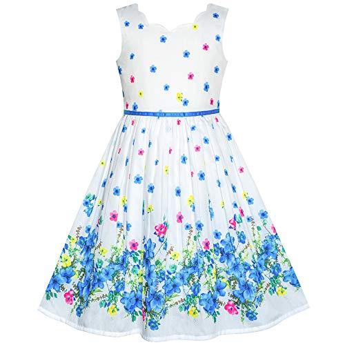 Sunboree Mädchen Kleid Blau Blume Blütenblatt Sommer Trägerkleid Gr. 98