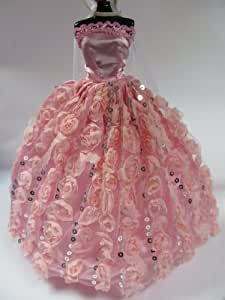 #D2: Cute Pink flower dress to fit Barbie Sindy sized 3 piece doll's pretty ball gown evening wedding fairy dresses, gloves & veils - posted from London by Fat-Catz