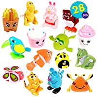 The Twiddlers 28pcs Wind Up Toys | 14 Designs Mini Clockwork Water and Bath for Children | Piñata Fillers, Party Goody Bag Favours | Kids Birthday Gift Halloween Trick or Treat