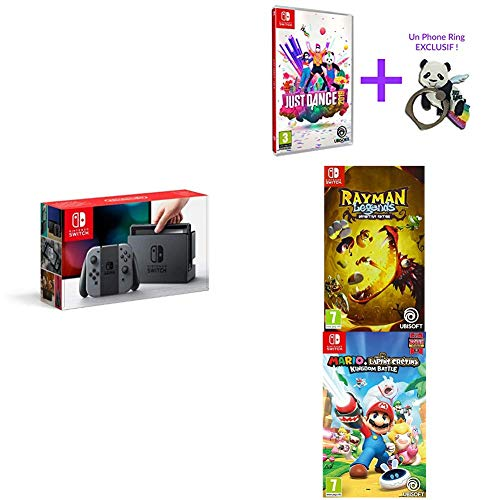 Pack Switch Grise + jeux Mario Lapins Crétins + Rayman + Just Dance 2019
