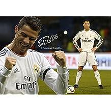 Cristiano Ronaldo #40MotivationPoster A3 signé (copie) avec meilleur joueur de football de l'année du monde et fond avec logo du Real Madrid