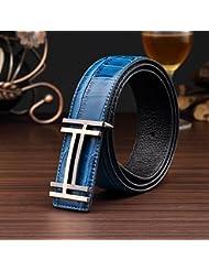 AQAQ Puro Negocio Liso Cinturón Cuero Hebilla Cinturones De Los Hombres , A050-2 Blue