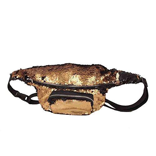 VJGOAL Damen Bauchtasche, Unisex Frauen Mädchen Outdoor Sports Party Reise Doppel Farbe Pailletten Tasche Casual Hüfttasche (B)