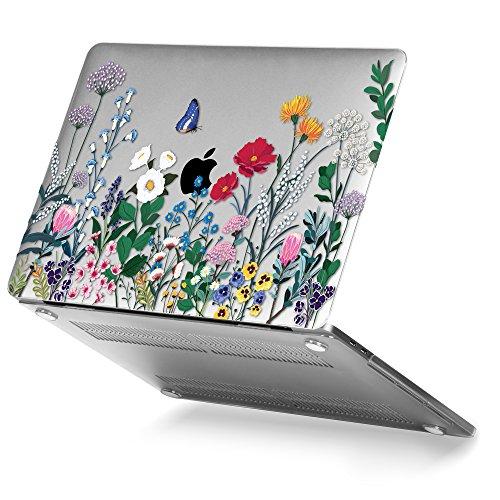 GMYLE MacBook Pro 15-Zoll-Hülle A1990 A1707, Kunststoff, glänzend, klare Hartschalen-Hülle für die neueste 15-Zoll-MacBook Pro-Hülle mit Touch Bar, Frühlingsblumengarten