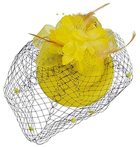 Fascinator Hut Pillbox Hut Britischer Bowler Hut Blumen Schleier Hochzeits Hut Tee Party Hut (Gelb) (Schleier Und Blumen)
