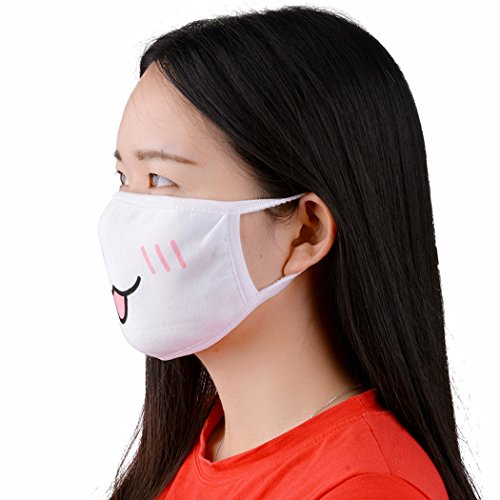 Fascigirl Mouth Mask, 5 Pcs Unisex Kawaii Muffle Anime Cotton Mask Surgical Anti-Dust Protective Earloop Face Kaomoji Cute Mask