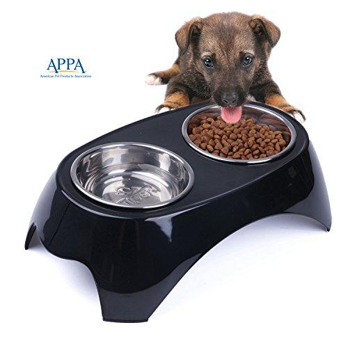 Schalen Hund Erhöht (SuperDesign Doppel Fressnapf 2 in 1 Futternapf aus Edelstahl mit erhöhtem Melaminständer rutschfest für Hunde und Katze, Mittelgroß, Schwarz)