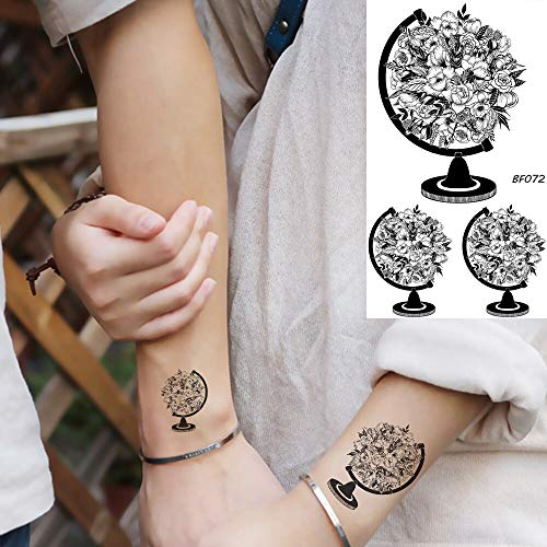 tzxdbh 6 Pirce 25 Style Black Globe Blume Blossom Mädchen Arm Tattoos Aufkleber Kleine Körperkunst Temporäre Tätowierung wasserdichte 3D Tätowierung Für Frauen