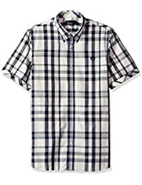 Fred Perry Two Colour Check Shirt in Service Blue
