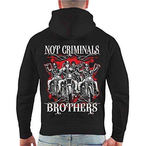 Männer und Herren Kapuzenpullover Not Criminals Brothers (mit Rückendruck) Größe S - 8XL Schwarz