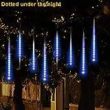 LCLrute Meteor light string Party Meteor Shower Rain Snowfall Xmas Tree Garden Outdoor LED Batteriebetriebene String Lights für Innen, Garten, Hochzeit, Party, Weihnachten (Blau)