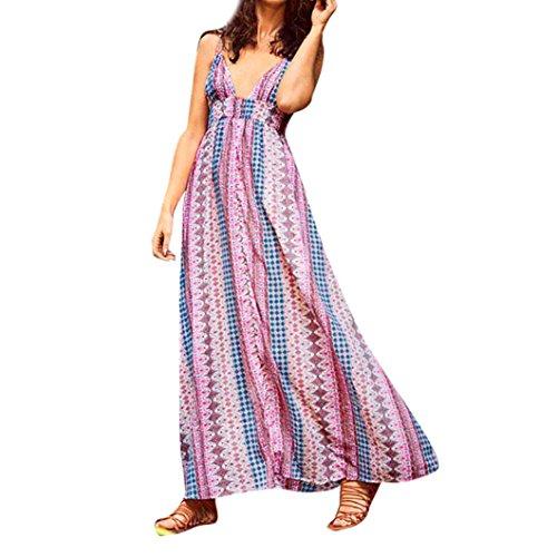 hui, Maxi-Kleid, lang, mit Spaghetti-Trägern, ärmellos, Strandkleid, elastische Taille, Sommer-Kleid m mehrfarbig (Blume Gilr Kleider)