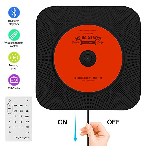 CD Player Bluetooth an der Wand montierbaren tragbaren CD-Musik-Player mit Fernbedienung für Kinder,FM-Radio Eingebauter HiFi-Lautsprecher, unterstützt USB/MP3/3,5 mm Kopfhörerbuchse/ (schwarz)