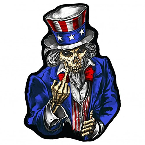 "UNCLE SAM POSTER FINGER2, High Thread Embroidered Iron-On / Saw-On, Heat Sealed Backing Rayon PATCH - 4"" x 5"""
