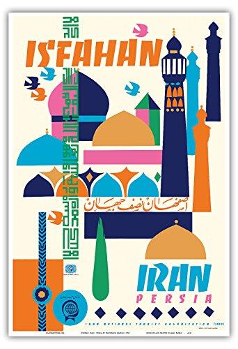 Pacifica Island Art Isfahan, Iran - Persien - Vintage Retro Welt Reise Plakat Poster von Houshang Kazemic.1967 - Kunstdruck - 33cm x 48cm -