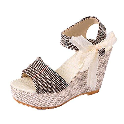 Damen Sandalen Ronamick Casual Damen schuhe Sandalen Keilabsatz Sommer Hohe Plattform Fisch Mund Schuhe (34, (Fisch Plattform Schuhe)
