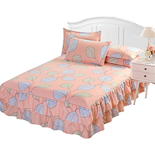 Colinsa Floral Spannbetttuch Bett Rock Spannbetttuch Bett Cover Baumwoll-matratze Cover-60 x 80 inch(150 x 200cm),A2