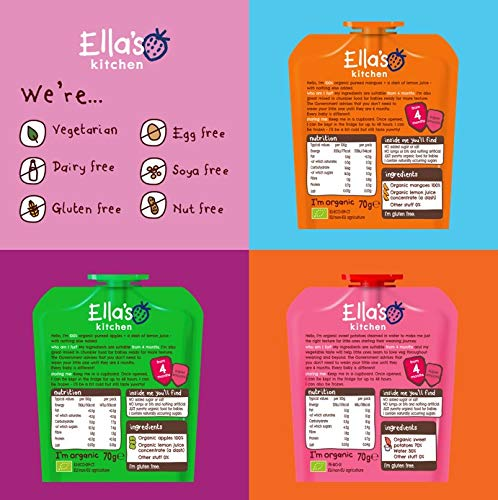 Ella's Kitchen Organic First Tastes Variety Pack, Weaning Stage 1, 4+ Months Baby Food, 70g Pouch (Pack of 21 Pouches)