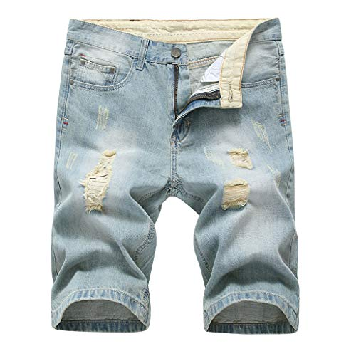 MONDHAUS Herren Denim Bermuda Jeans Shorts Sommer Kurze Hose Ohne Guertel W28-W44 Cotton Classic Baggy Pants
