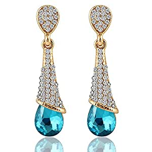 Young & Forever Paradiso Show Your Passion Blue Austrian Crystal Drop Earrings For Women Girls E357