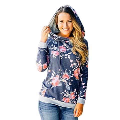 Toamen T-shirt Femmes, Impression floral pour femme Sweat à capuche en vrac Sweat à capuche Dessus Blouse (S, Bleu)