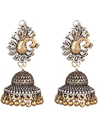 Sansar India Oxidized Dual Tone Peacock Stud Jhumka Traditional Earrings For Girls And Women