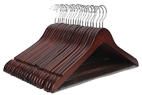 J.S. Hanger Hickory Nussbaumaufhänger mit poliertem Chromhaken (20 Stück)