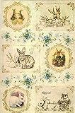 Zita`s Creative Reispapier A4 - Vintage Easter. Motiv-Strohseide, Strohseidenpapier, Decoupage Papier