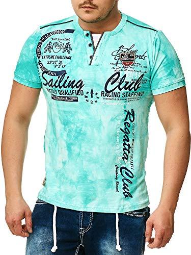 Verwaschenes Herren T-Shirt Monte Carlo 004 (XL-Slim, Hell Blau 004)