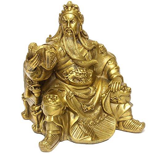 Dusky Seaside Sparrow FengShui Guan Yu Statue chinesischer Kampf Held Krieger Figur chinesische handgefertigte Messing Reading Hero (Krieger-statue-figur)