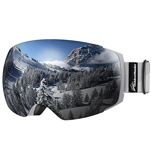 OutdoorMaster Skibrille Pro für Damen&Herren, Snowboardbrille mit magnetisch wechselsystem, OTG Schneebrille, Ski Goggles(Grauer Gurt VLT 10% graue Gläser&Schutzhülle)