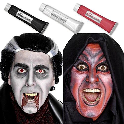 Halloween Aqua Creme Make-up Set: Rot, Schwarz & Weiß - 3x 28g Gesichtsfarbe & Körperfarbe