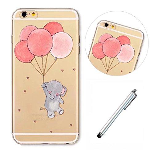 Lanpangzi Smartphone Schutzhülle für iphoneSE/5/5S Backcover Handyhülle Klar Gel TPU Staubdicht Schützend Telefonkasten - Elefanten und Ballons + Metall Berühren Stift (Pokemon Bauch)